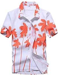 7373865d5675b2 ShallGood Uomo Funky Camicia Hawaiana Manica Corta Aloha Casuale Tasca  Frontale Vacanza Tropicale Stampato Spiaggia Palme