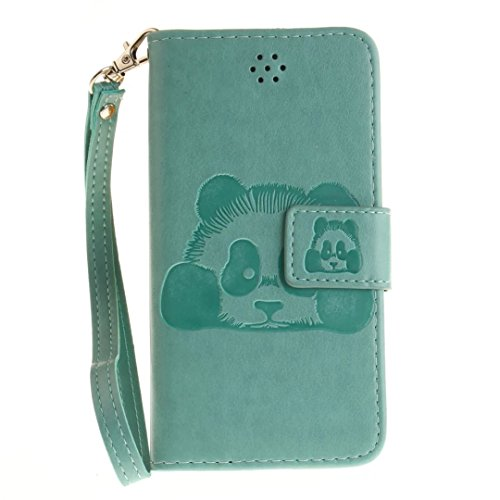 iPhone 7Case, Augus tcoco Embossed Panda Pattern PU Leather Flip Folio Kickstand Wallet Case with Card Slots and Wrist Strap for iPhone 7 verde