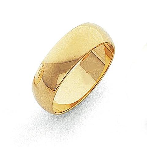 14ct 6MM leicht halbrund Band Ring–Größe M 1/2