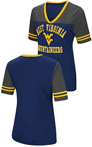 Colosseum West Virginia Mountaineers Damen-T-Shirt mit V-Ausschnitt, Gr. S, Synthetik, Damen, Navy, X-Large -