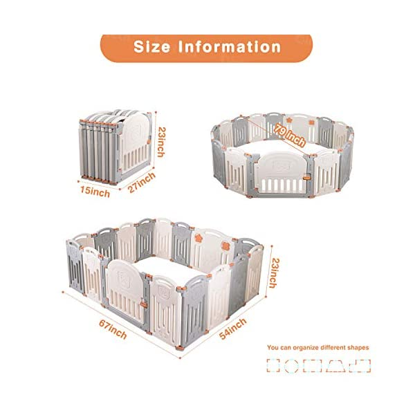 Baby Playpen,Foldable Playpen with Gates Activity Center Safety Play Yard for Babies and Kids - 14+2 Panel HDPE Indoor Outdoor Playards Fence Set Birtech 💝👼🏩Baby Playpen with Safety Material 💝👼🏩Crafted with high quality non-toxic commercial grade HDPE material widely utilized for every day products,BPA free and non-recycle material with HDPE, no any odor, perfect for your baby. 💝👼🏩Baby Playpen to Free You Hands💝👼🏩Cooking/housework or just want to rest inside the house for a while, a playpen is a great idea. You will have a play center to keep your baby safe and entertained. You can set it up easily and your kids can use their play area right away. 💝👼🏩Flexible Shape💝👼🏩You can use all 14+2 panels or less, it's up to you, this feature along with the ability to shape it be it square, rectangle, hexagon or octagon will fit anywhere in your house. 3