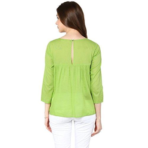 THE VANCA Women's Plain Regular Fit Top (TSF400793-Green-M)