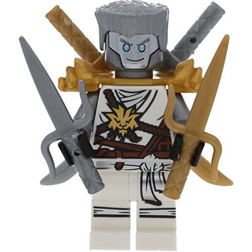 LEGO Ninjago Minifigur Zane Silberne Haare mit Goldener Rüstung sowie 4 GALAXYARMS Waffen