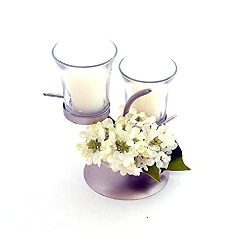 Candle Holder Decorative Dining Table Centrepiece Gift Idea For Women By Clair De Lune - White Lilac Flower Theme - Duo Candle - Green / Cream - Made From Glass / Metal /