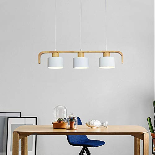 ZMH Pendelleuchte Hängeleuchte esstisch 3-Flammig Pendellampe Holz und Metall Hängeleuchte retro E27 Leuchtmittel für Esszimmer (weiß, 3-flammig)