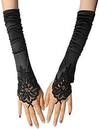 InnoBase Damen Lange Handschuhe Elastischer Satin Oper Abend Handschuhe Fingerlose 1920er Charleston Spitze Handschuhe Ellenbogen Handschuhe Braut Handschuhe für Frauen