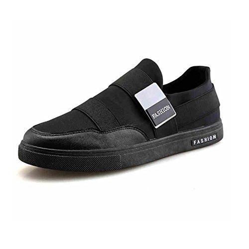 YIXINY Chaussures de Sport Tendance Chaussures Pour Hommes Tissu Plat Chaussures Décontractées Non Lié Printemps Et Automne Rouge / Noir / Blanc Route et Chemin ( Couleur : Noir , taille : EU41/UK7.5-8/CN42 )