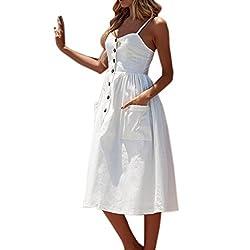 LIKELYY Women Summer Sexy Buttons Solid Off Shoulder Sleeveless Dress Princess Dress
