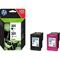 HP 301 pack de 2 cartouches d'encre noire/trois couleurs authentiques pour HP Envy 4505 et HP DeskJet 1050/1512/2548/3057A (N9J72AE)