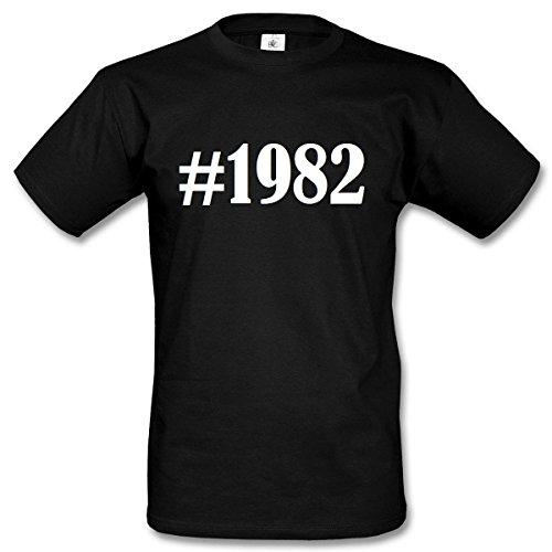T-Shirt #1982 Hashtag Raute für Damen Herren und Kinder ... in den Farben Schwarz und Weiss Schwarz