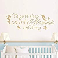 Wall Quote Stickers to Go to Sleep I Count Mermaids Not Sheep - Sea Ocean Theme Wall Decal for Kids Room Boys Girls Mermaid Room Decor Wall Art