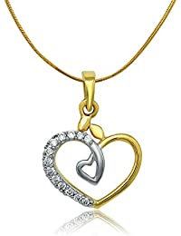 Om Jewells Sterling Silver Gold Rhodium Plated Sweet Heart Pendant With CZ Stones For Women PD7000214