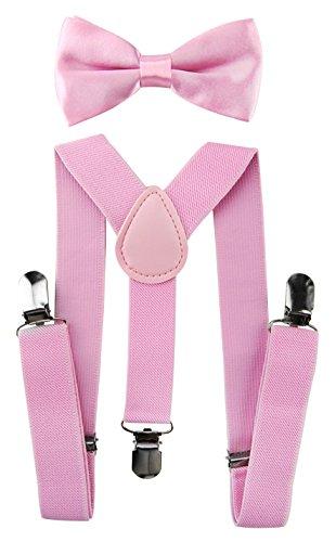 axy Hochwertige Kinder Hosenträger-Y Form mit Fliege- 3 Clips EXTRA STARK-Uni Farben (Pink)
