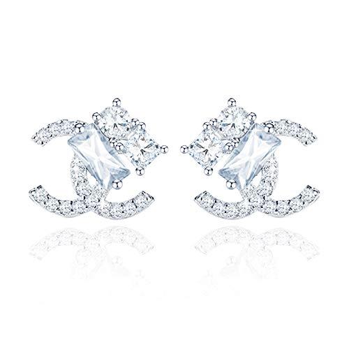 Wikimiu Ohrringe Damen Silber 925, Doppel C Design Ohrringe, eleganter Modeschmuck für Frauen mit Geschenkbox