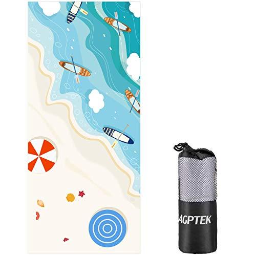 Agptek telo da mare microfibia per la spiaggia asiugamano telo antisabbia super assorbente ideale per le attività aperta, 160 * 80 cm,