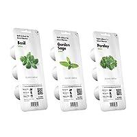 Kit composto da 3 confezioni di capsule miste per Smart Garden 3 e 9 della marca Click & Grow. Ricariche di basilico, salvia e prezzemolo, facili da coltivare in giardino d'interno
