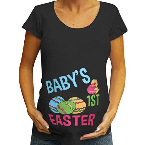 Amphia - Frauen Mutterschaft Kurzarm Ostern Brief Drucken Tops T-Shirt Schwangerschaft Kleidung - Damen Schwangere Frauen Kurzarm Küken Print Ostern Mutterschaft ()
