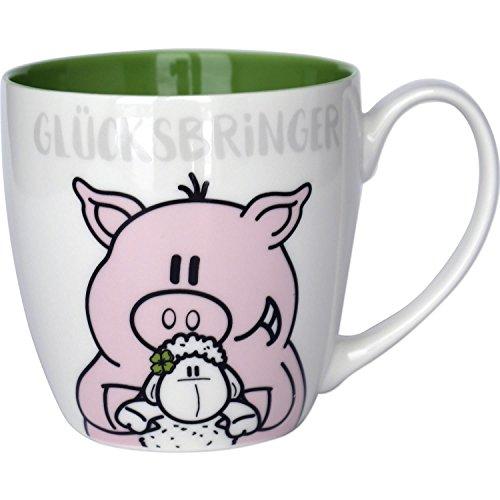 Sheepworld 45429 Glück mit Schaf und Schweinchen, grün, 45 cl Tasse, Fine Bone China