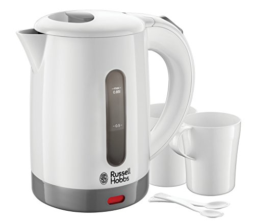 (White & Grey) - Russell Hobbs 23840 Compact Travel Electric Kettle, Plastic, 1000 W, White