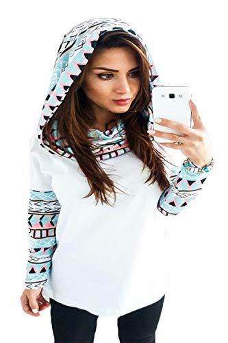 YACUN Damen Sweatshirts Lange Ärmel Floral Casual Kapuzenpulli Bluse weiße XL