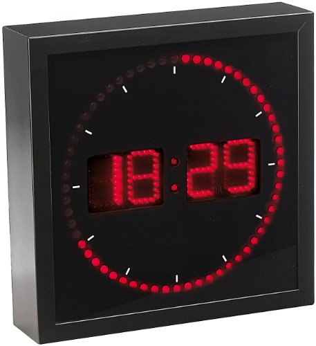 Lunartec LED Uhr: LED-Wanduhr mit Sekunden-Lauflicht durch rote LEDs (Leucht Wanduhr) (Rot-licht-digital-wand-uhr)