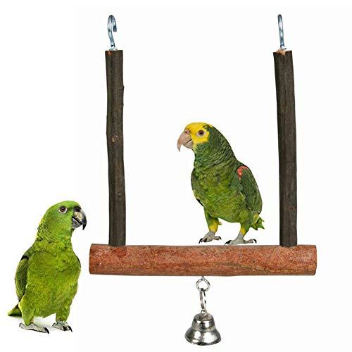 LPxdywlk Legno Pet Bird Pappagallo Bell Cage Appeso Altalena Stand Rettifica Zampa Gioca Giocattolo Divertente Arrampicata Giocattolo da Masticare Colore del Legno