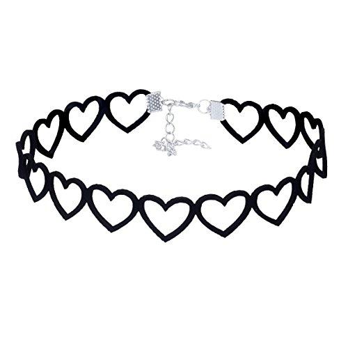 Tpocean Liebe Herzform Wildleder Choker Halskette Punk Gotisch Schwarz Halsband Niedlich Mädchen Choker (Kostüm Definition Designer)