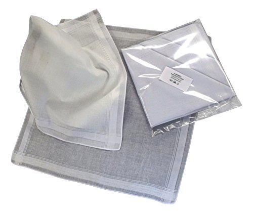 Teichmann - 6 Herren Stoff-Taschentücher Reinweiß mit weißer Satinkante, 40 cm x 40 cm