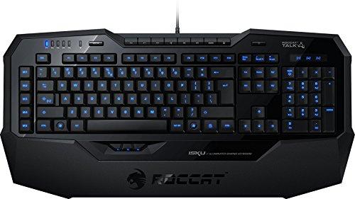 Roccat Isku Illuminated Gaming Tastatur (ES-Layout, blaue Tastenbeleuchtung, 36 Makrotasten inkl. 3 Thumbster-Tasten) schwarz