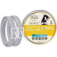 Volwco Flea And Tick Collar For Dogs, Set Of 2 Waterproof Dog Anti Flea Collar With 25 inch Length for Small Medium Large Dogs, 8 Months Protection - 2019 New Formula