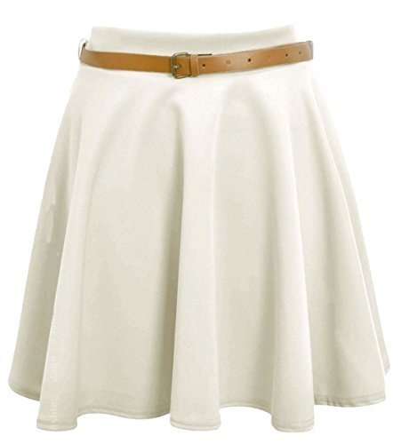 Islander Fashions Womens Belted Mini Skater Gonna Ladies Plain Flared Skater Swing Party Skirt Piccolo / XX-Large Cream