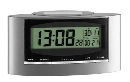 Preisvergleich Produktbild TFA SOLAR Funk-Wecker (inkl Batterie) grau-schwarz 981071