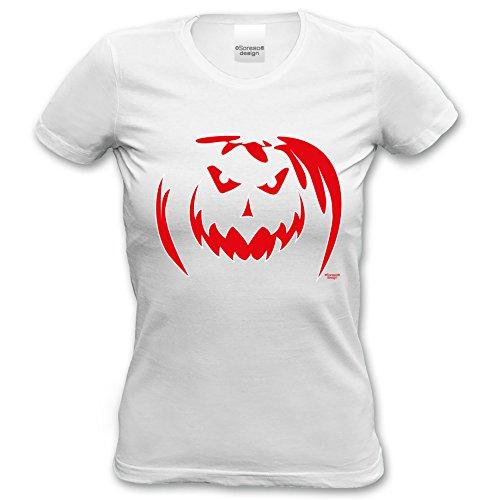 ... Geschenke-Idee Motiv: Kürbis Farbe: weiss Weiß. Extrem stylisches  Halloween-Girlie-Damen-Fun-T-Shirt als Geschenke-