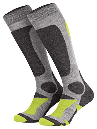 Piarini 2 Paar Unisex Skisocken Skistrumpf Herren, Damen und Kinder für Wintersport, Snowboard atmungsaktive Knie-Strümpfe Farbe Grau-Grün Gr.47-50