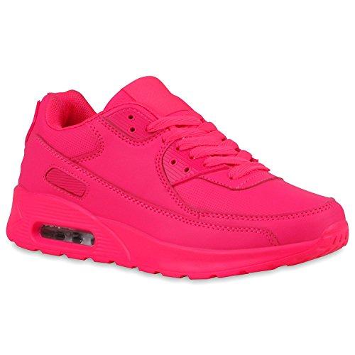 Stiefelparadies Damen Herren Lauf Unisex Sport Sneakers Camouflage Fitness Sneaker Leder-Optik Lack Neon Schuhe 119113 Neonpink Carlton 38 Flandell
