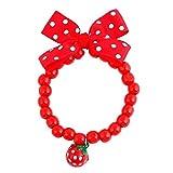 Aofocy Hundehalsband Hundehalsband Tierbedarf Schmuck Perlen Halskette mit Erdbeer-Bowknot einstellbar und einfach zu tragen