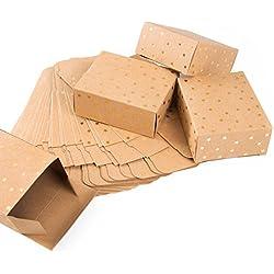 24petits Marron Papier Kraft Mini Boîtes cadeau de Noël avec étoiles dorées (10x 4x 8cm)-Boîtes cadeau emballage de Noël pour Cadeaux de Noël, boîtes pour calendrier de l'avent