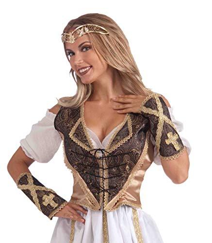 Forum Mittelalter Mieder und Armstulpen Kostüm-Set braun-Gold