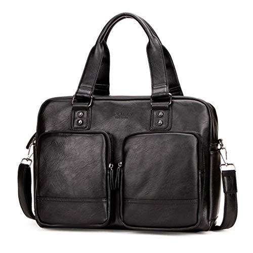 Design Satchel Handtasche (RFJJAL Business-Handtaschen Design Herren Aktentasche Satchel Messenger Case 14 'Laptop-Umhängetasche, Schwarz)