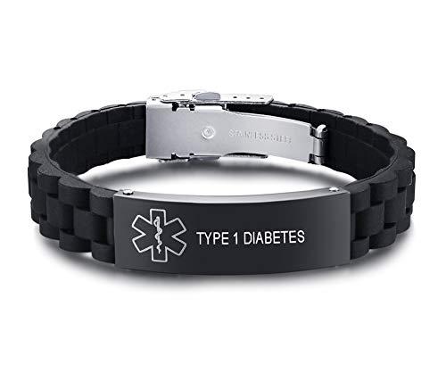 XUANPAI Edelstahl Schwarz Überzug Silikon Medical Alert Graviert TYP 1 Diabetes Identifikation Armband Für Männer Frauen, Einstellbar (Typ-1-diabetes-schmuck)