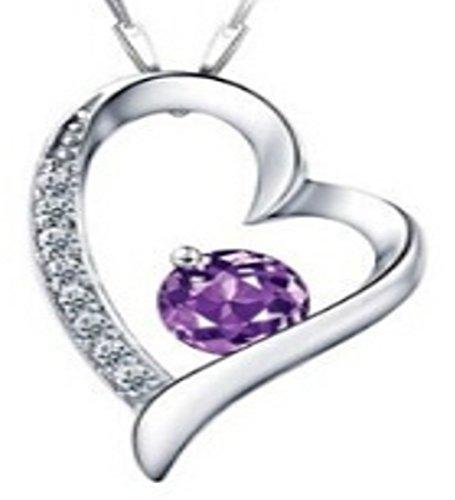 Collana donna swarovski elements–collana cuore stella violet-bijoux donna è composto da una catena e di un ciondolo tempestata di cristalli swarovski element argent  è un regalo ideale da offrire