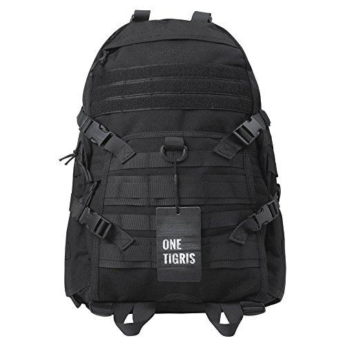 OneTigris RECON 34L Taktische Outdoor Rucksack Daypack für EDC Camping Wandern Reisen (Schwarz-neue Version)