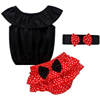 Camidy 3Pcs / Set Trajes de Algodón para Niñas Traje de Verano Camisa de Traje Casual Pantalones Cortos con Lunares Diadema con Lazo
