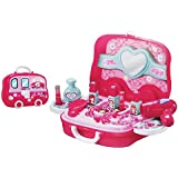 RIANZ Make Up Toy 19 Pcs Set For Baby Girl Plastic Hair Dryer Comb Cosmetics Jewelry Pretend Play Children's Small Suitcase