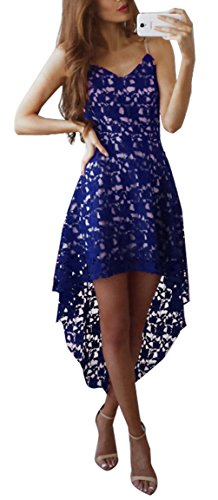 Blansdi Damen Elegant Spitzenkleid Träger V-Ausschnitt Ärmellos Unregelmäßig Lang Abendkleid Brautkleid Cocktail Partykleid Festlich Hochzeitskleid Blau