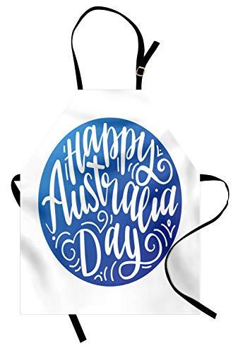 (ABAKUHAUS Australische Partei Kochschürze, Glückliche Australien-Tageskalligraphie mit Wirbel und Punkt-Unabhängigkeitstag, Farbfest Höhenverstellbar Waschbar Klarer Digitaldruck, Weiß und Blau)