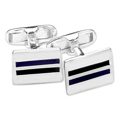 &rectangulaire-Émail-Noir-Bleu-double-Rayures-Boutons de manchette Homme-Argent 925/1000-Forme classique Motif bouton de manchette-Livré dans coffret