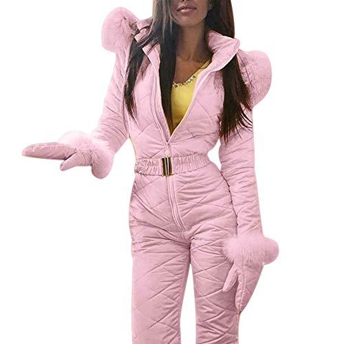 Delisouls Donna Inverno Tuta da Sci, Caldo Cappuccio Tuta da Sci Sports Pantaloni, Tuta da Sci Impermeabile Tuta Intera Pantaloni Outfit per Inverno Outdoor - Rosa, Medium