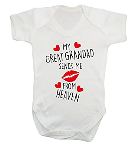 My great grandad sends me kisses from heaven baby vest bodysuit babygrow