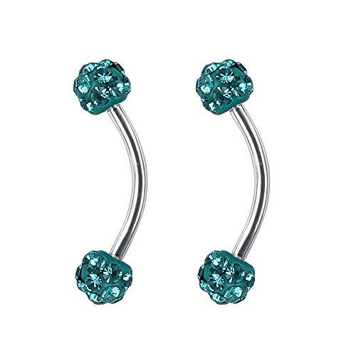 ZeSen Jewelry 16g Tiny 4mm Crystal Ball Gebogen Barbell Augenbraue-Ringe Helix Daith Cartilage Rook Piercing (Mintblau)